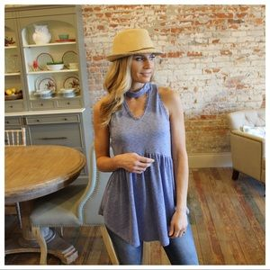 Blue choker lace trim detail babydoll tunic